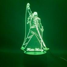 3d светодиодный Ночной светильник, лампа британской певицы Фредди Меркьюри, ночник для офиса, украшения дома, лучший подарок, Прямая поставка
