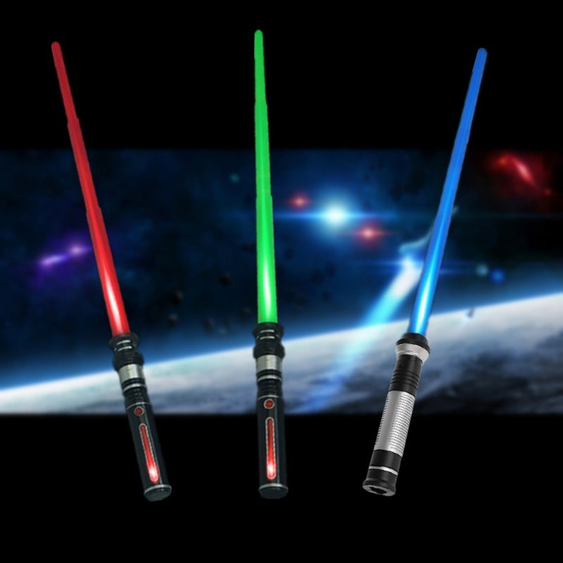 HBB 1PC New Telescopic Lightsaber Toys Flashing Sword Cosplay Luminous Music Star Laser Toy Swords Kids Toy Boys Gifts