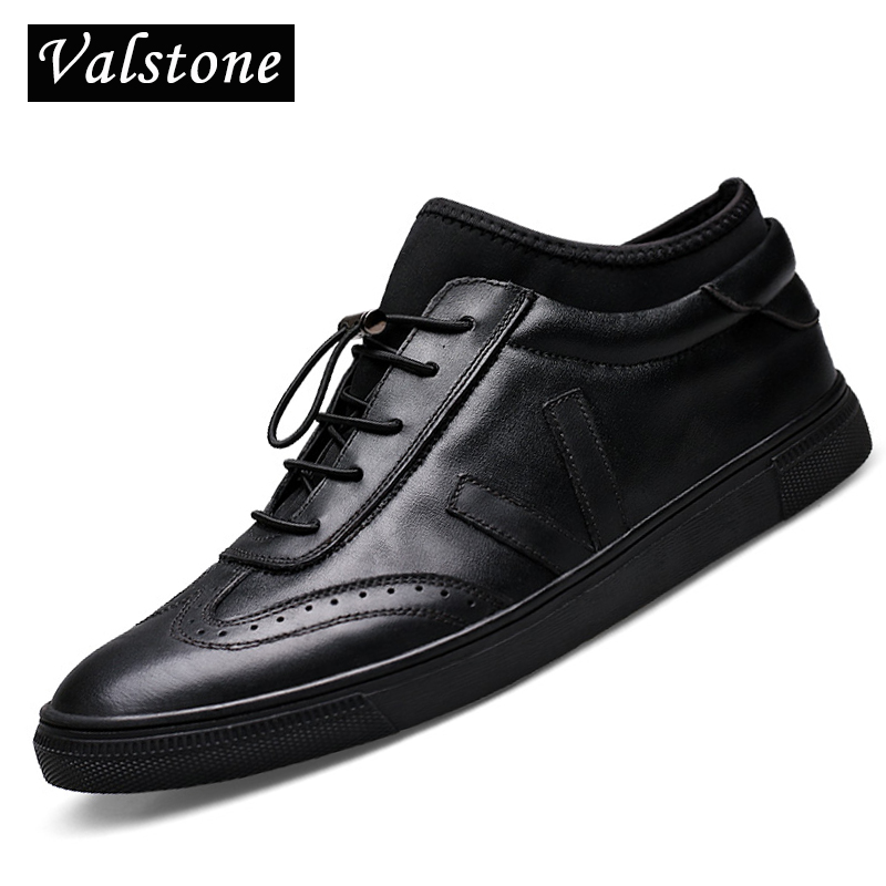 Valstone High Quality Men s Genuine Leather shoes Ankle board shoes with strainer and carving Luxury