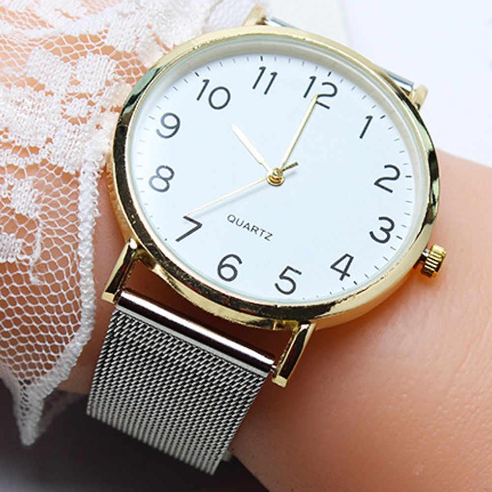 99f709eef276 Unisex Simple Business men watches top brand luxury Stainless Steel Mesh  Strap Quartz Wrist Watch Casual