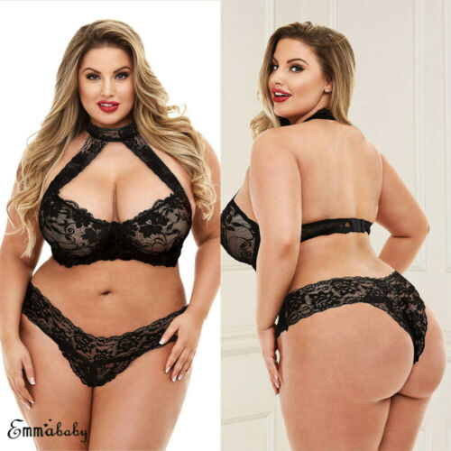 UK Plus Size Sexy Black Lace Bra And Knicker Lingerie Set Underwear See Through