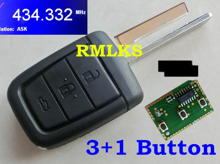 RMLKS Smart Folding Remote Key Fob 3 Button +Panic 433MHz ID46 Chip Uncut Blade Flip 4 Button Remote Car Key FCC ID:OUC6000083