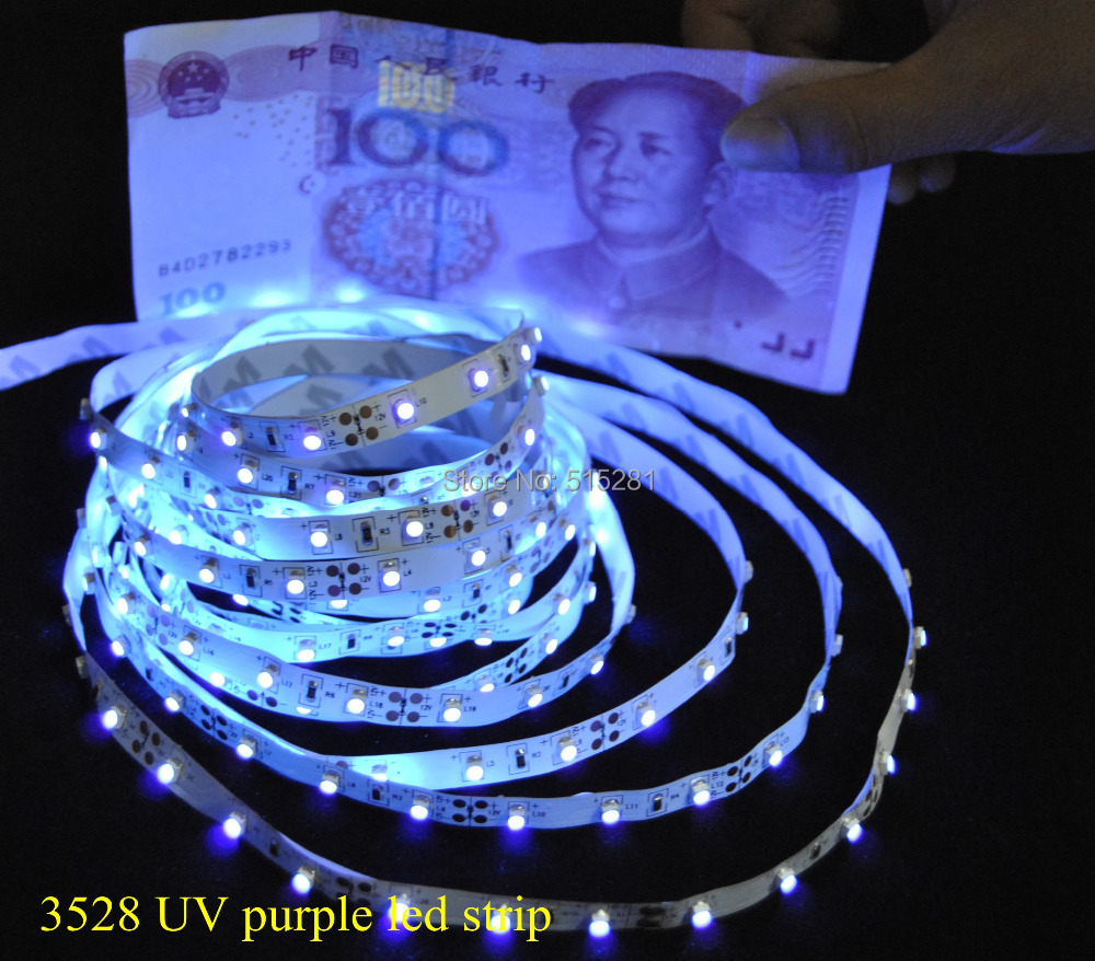 DC12V SMD 3528 60 leds/m nuevo producto UV ultravioleta Led tira Ligh púrpura a prueba de agua puede identificar el dinero Super brillo