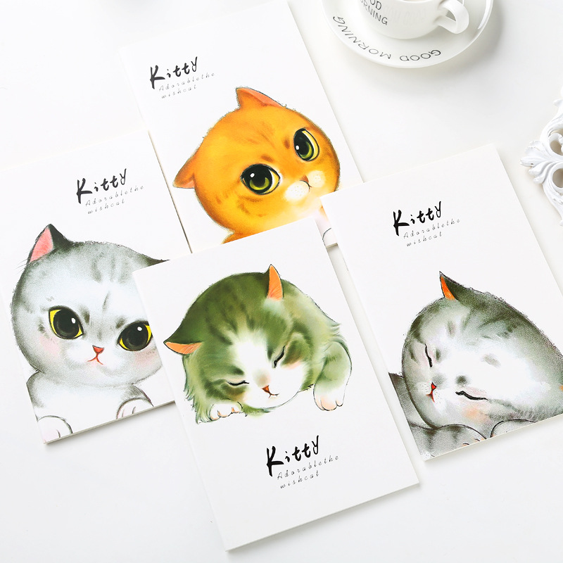 4 Color Cartoon <font><b>Notebook</b></font> Paper Cute Cat School <font><b>Notebook</b></font> Paper <font><b>A5</b></font> <font><b>Travelers</b></font> <font><b>Notebooks</b></font> Planner Agenda Diary Stationery Store image
