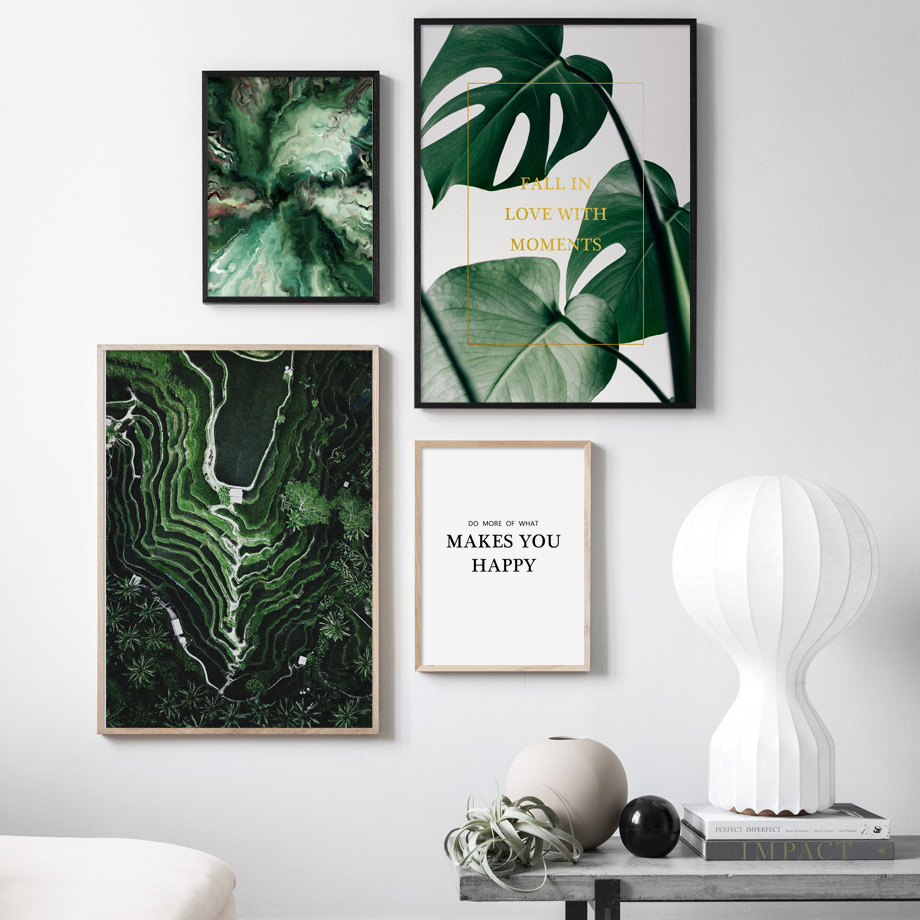 Green Terraced Field Monstera Leaves Nordic Posters And Prints Wall Art Canvas Painting Pop Pictures For Living Room
