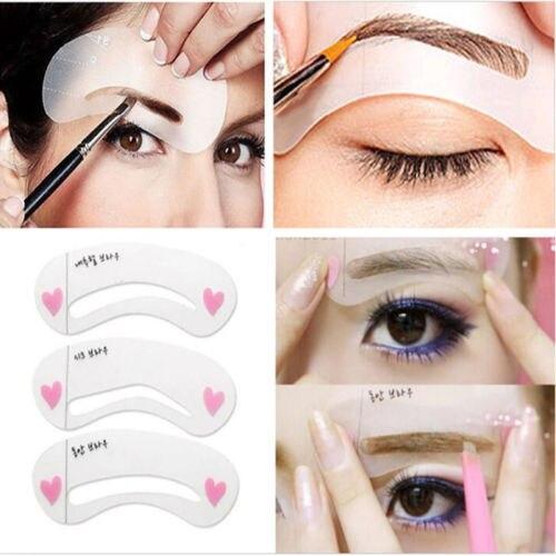 MOONBIFFY 3 estilos/set Grooming Kit de la Plantilla Forma DIY Belleza de Cejas Plantilla Maquillaje Herramienta