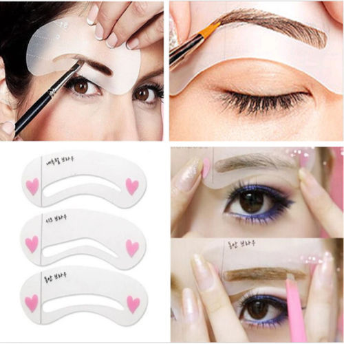 MOONBIFFY 3 styles/set Grooming Stencil Kit Shaping DIY Beauty Eyebrow Template Make Up Tool