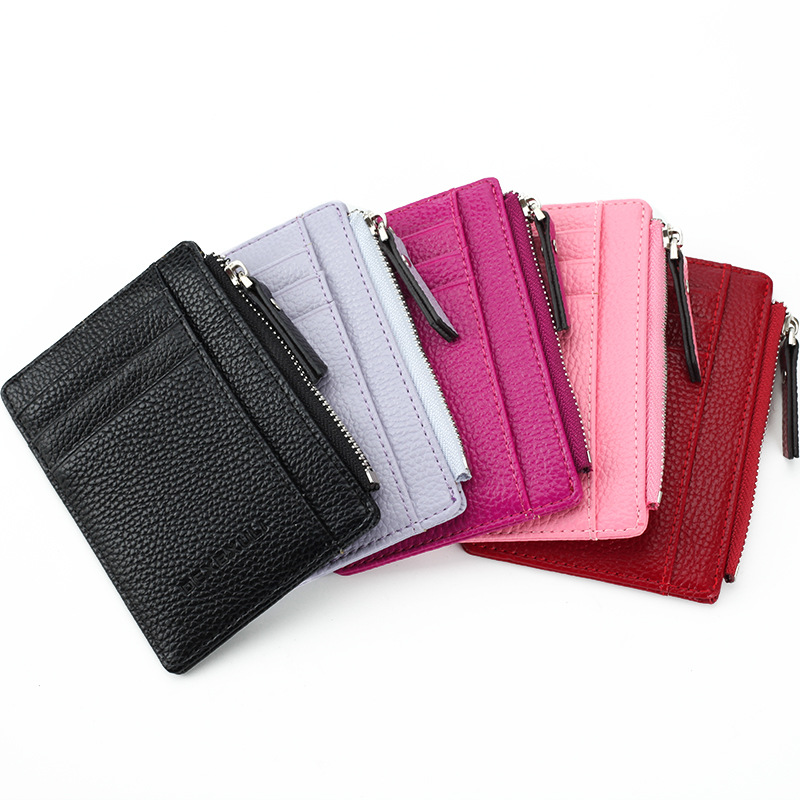 Men/Women Mini ID Card Holders Business Credit Card Holder PU Leather Slim Bank Card Case Organizer Wallet Zipper Unisex image