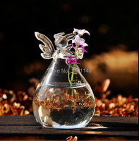 free shipping size 12cm x 8cm Angel Glass Plant Flower Vase containers hydroponic containers Home Decoration wedding party decor