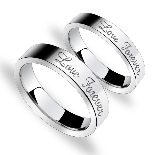 Men & Ladie's Rings 5MM/3.5MM Flat Shiny Laser Engrave Love Forever Tungsten Carbide Wedding Band Ring Set
