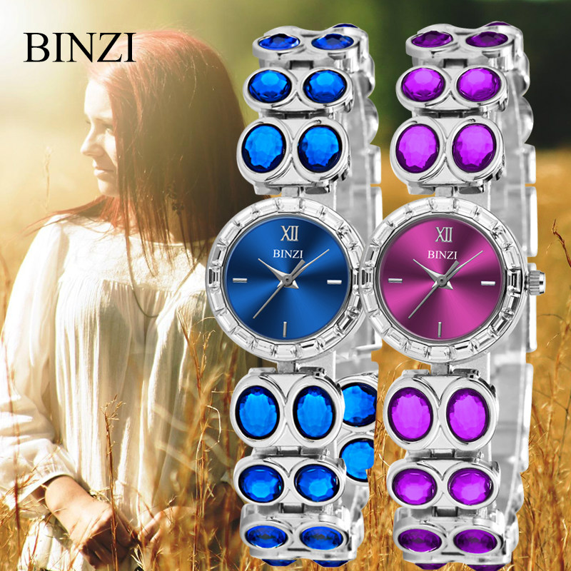 Women Watch BINZI Brand Fashion Luxury Rhinestone Bracelet Watch Ladies Quartz Watch Casual Women Wristwatches Relogio Feminino free shipping kezzi women s ladies watch k840 quartz analog ceramic dress wristwatches gifts bracelet casual waterproof relogio
