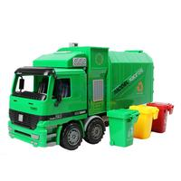 MagiDeal 1:22 Kids Children Toddler Super Large Die Cast Pull Back Sanitation Garbage Truck Model Cool Toy Xmas Gift Green