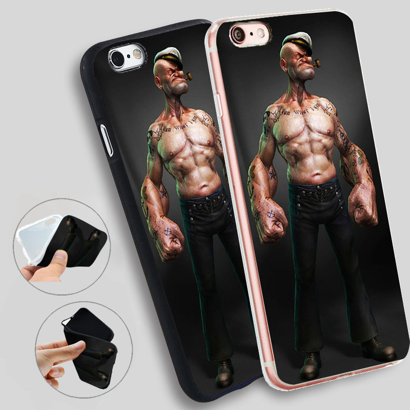 Minason Phone Cover For iphone 7 7plus 8 8plus X Popeye Cartoon Case For iphone 5 5s SE 6 s 6S Plus TPU Phone Cases