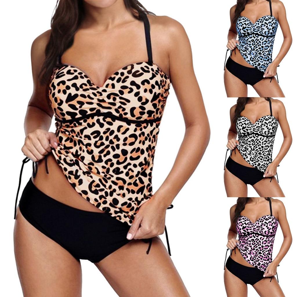 Bikini 2019 Sexy Women Swimwear Beachwear Leopard 2 Pieces Tankini Swimjupmsuit Bathing Suit Padded Monikini Bikini Suit Biquini