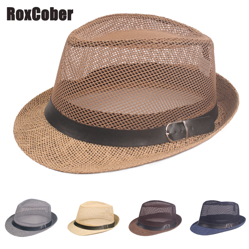 RoxCober Summer Men Mesh Breathable Visors Cap Retro Jazz Hat Fedoras Haps