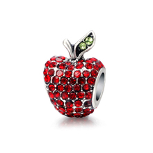 Classic Style Authentic Zircon Red Apple DIY Charm Beads Fit Pandora Bracelets Women Jewelry Accessories