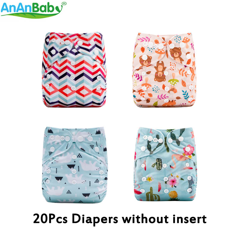 AnAnBaby 20pcs Per Lot New Designs Popular Cloth Diaper Baby Reusable Washable Diapers Without Inserts
