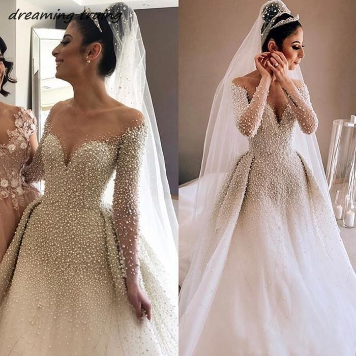 Full Ball Gown Wedding Dresses: 2019 South Africa Full Pearls Dubai Shiny Ball Gown
