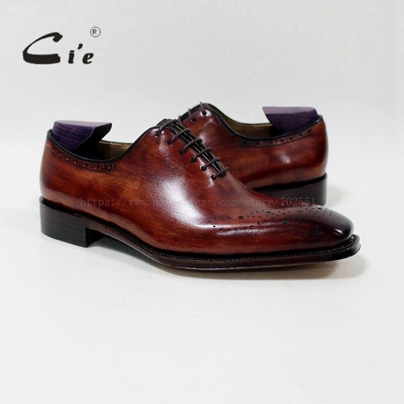 Cie Carré PlainToe Patine Brun 100% Véritable Veau En Cuir Respirant Sur Mesure Mens Chaussures En Cuir À La Main Hommes De Chaussures Sur Mesure OX-07-01
