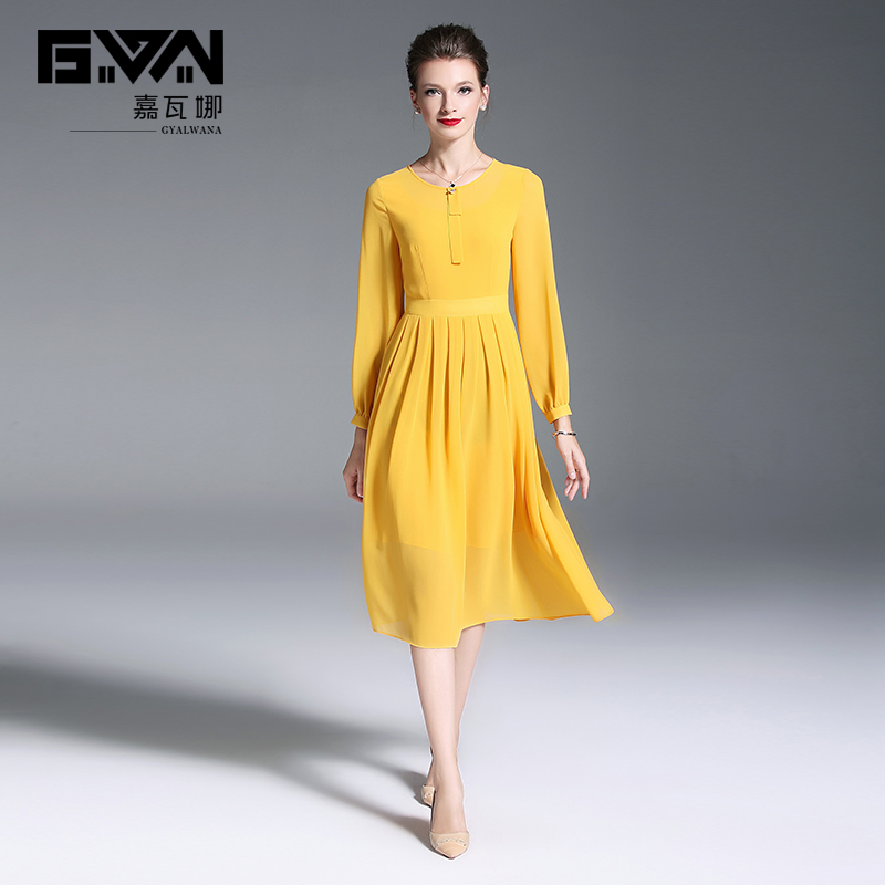 61edd152613c1 US $57.79 32% OFF Spring Autumn new style brand women's clothes,O Neck,long  sleeves,A Line yellow chiffon dress.Temperament lady party dresses.-in ...