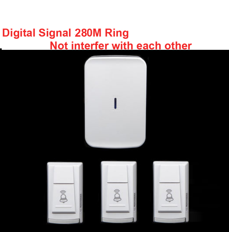 wireless door bell w/ 3 emitter +1 receiver & power by AA battery doorbell Waterproof 280 Meter door chime digital signal ring new restaurant equipment wireless buzzer calling system 25pcs table bell with 4 waiter pager receiver
