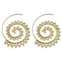 Bohemia Ethnic Personality Round Spiral Drop Earrings Exaggerated Love Heart Whirlpool Gear Earrings for Women Beach Jewelry
