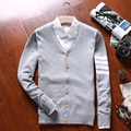2016 Nuevos hombres Suéter de La Raya de Abrigo Con Cuello En V Cardigan de Lana prendas de vestir exteriores del Otoño Solid Casual Suéteres Abrigo Azul Marino Gris Negro XH1617