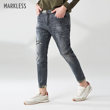 цены Markless Fashion Ripped Jeans Men 2019 Spring Slim Skinny Pencil Jeans Middle Waist Denim Trousers  NZA9008M