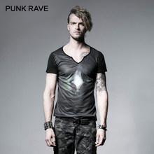 PUNK RAVE moda banda hombres verde oscuro Impresión Digital corto Popular Corns Punk Rock patrón de Sheepshead esqueleto camiseta(China)