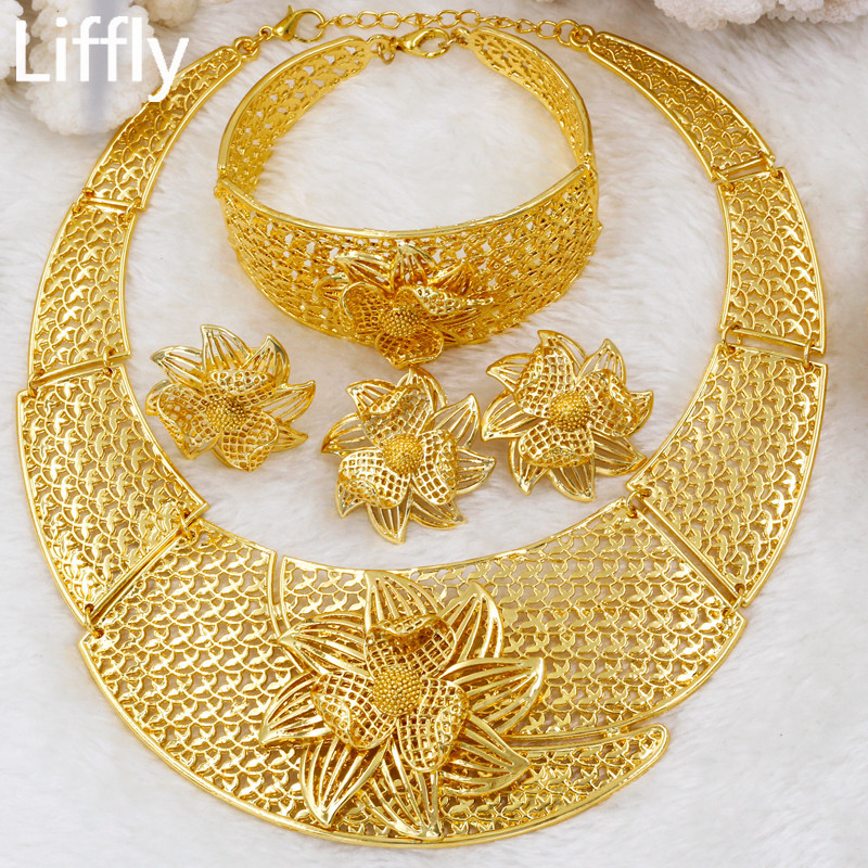 US $9 5 63% OFF Liffly Nigeria Bridal Gift Fashion Dubai Gold Jewelry Sets  for Women Luxury Big Necklace Ring Wedding Earrings Costume Jewelry-in
