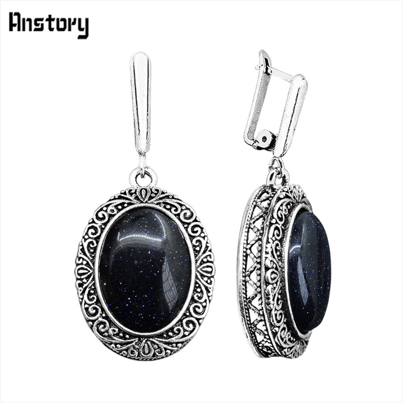 Oval dark blue shinning stone earrings for women hollow for Vintage costume jewelry websites