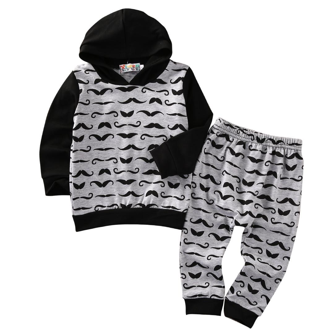 2c42849054ec5 2016 Enfants Bébé Garçon Fille Vêtements À Manches Longues À Capuche Tops  Pantalon Tenues 2 PCS Nouveau-Né Infant Toddler Vêtements Set