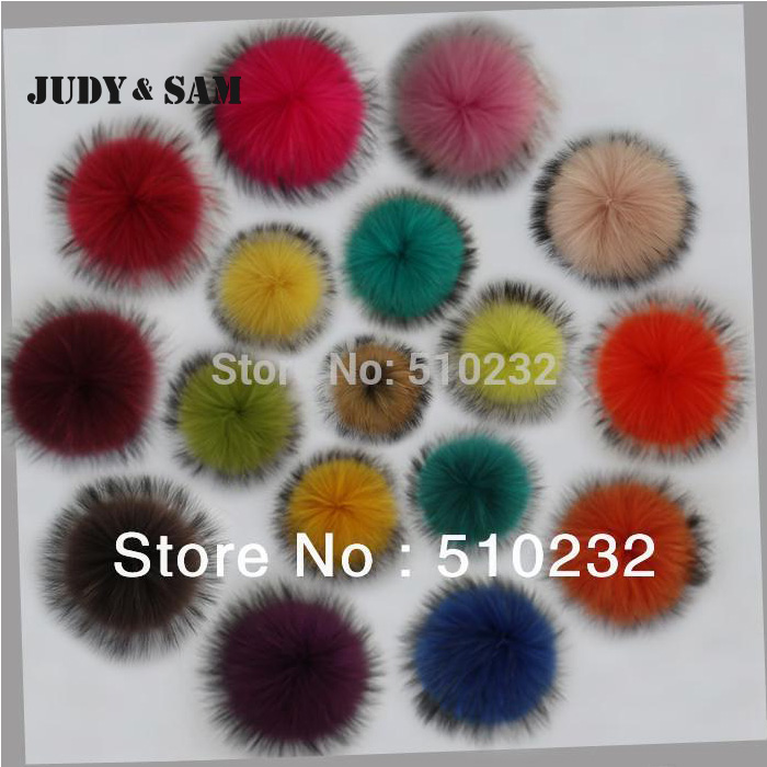 Wholesale 15PCS/Lot Big 14-15cm Real Raccoon Fur Pom Pom Fur Ball for Men's Skullies Beanie Hats Coat and Shoes Accessories 14 15 2015 14 15 real madrid