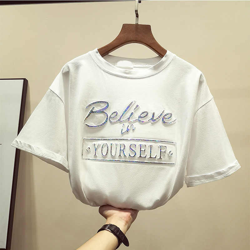 322116c2b ... Zuolunouba New Casual Tops Short Sleeve Cotton Tees Girl Letter Believe  In Your Self Print O