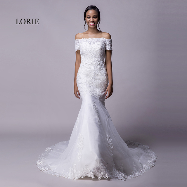 LORIE Beach Mermaid Wedding Dresses Lace Off the Shoulder Short ...