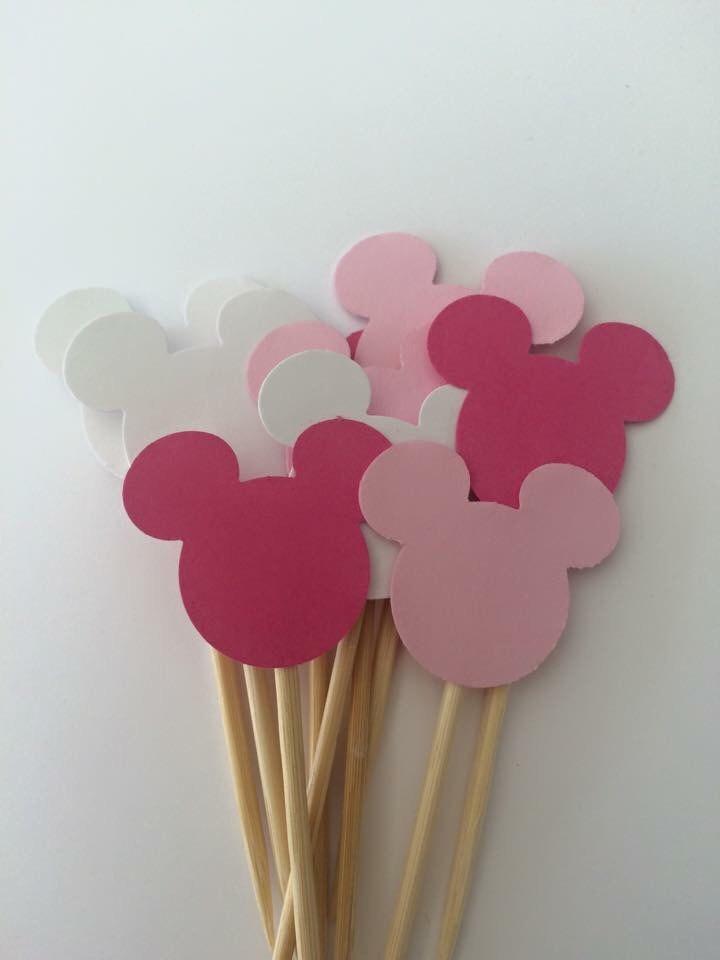 Admirable 20Cps Mickey Mouse Cupcake Toppers Minnie Mouse First Birthday Funny Birthday Cards Online Kookostrdamsfinfo