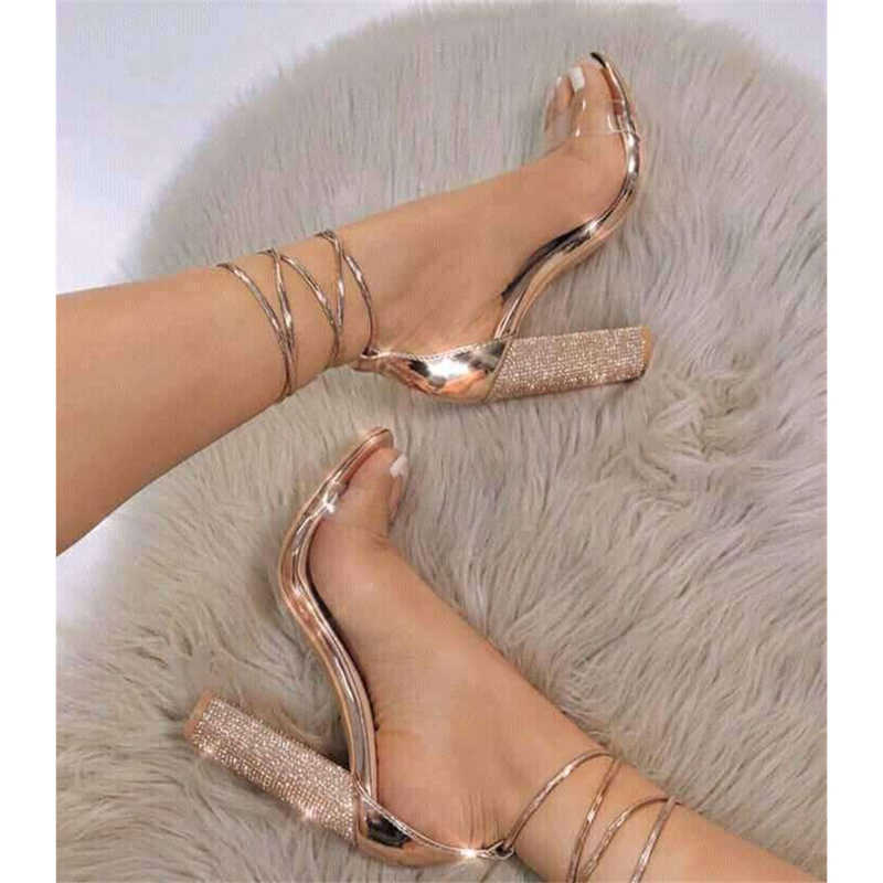 Flock High Heels Summer Style Sandals Sexy Fashion Ankle Strap Pumps Casual Shoes Woman Gold Bling Rhinestone Shoes Size 34-43