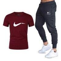 Classic Brand Logo print T shirt + Pants Two Piece Sweat Set Jogger Track Suit Quality tracksuit men clothes men Casual Set Suit