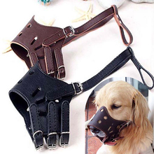 Luxury Leather Pet Dog Muzzle Adjustable Dog Mask Grooming Muzzle for Small large Dogs Anti Bite Safety and Breathable P037