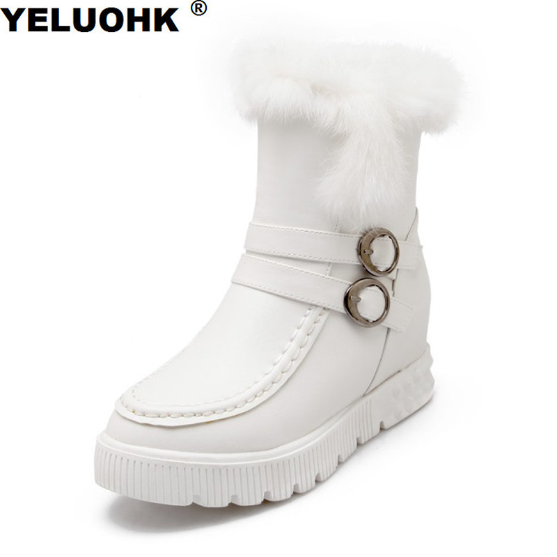 Big Size Waterproof Snow Boots Women Shoes With Fur Warm Platform Ankle Boots For Women Comfortable Female Winter Boots gaoke big size 34 43 winter snow boots women ankle boots 2017 round toe platform winter shoes with fur woman fur shoes