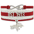 (10 PCS/Lot) Infinity Love DST 1913 Bracelet Elephant Charm Gift for Members Red White Wax Suede Leather Custom Any Themes