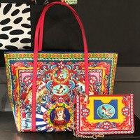 Новый Элитный бренд мода печатных оптом кожаная сумка Для женщин сумка шоппер Этническая Стиль сумочка кошелек леди плечо Курьерские Сумки