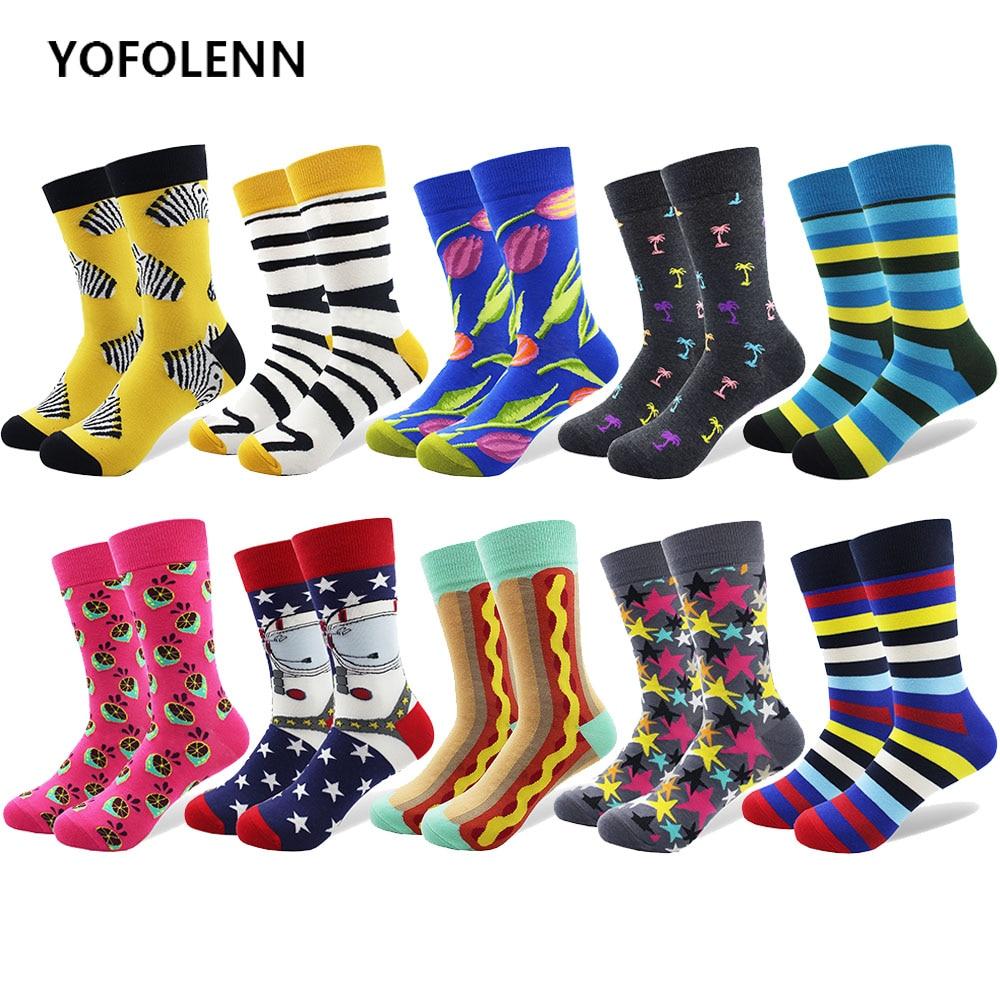 10 pár / sok férfi Pamut Zokni Zebra csíkos színes Happy Socks - Férfi ruházat