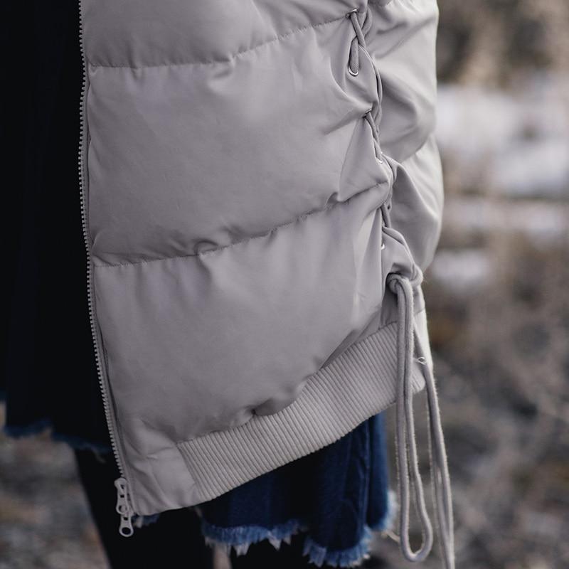 Image 4 - INMAN new winter baseball collar net color warm white eiderdown  long Down Coat femalefemale femalefemale coatfemale long coat -