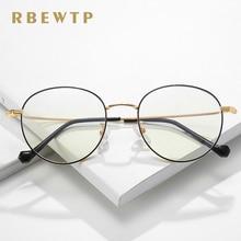 RBEWTP Round Frame Rose Gold Anti Blue Light Blocking Glasses led Reading Radiation-resistant Glasses Computer Gaming Eyewear 01