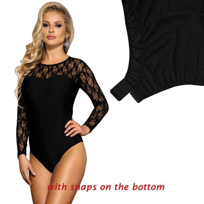 ee5238c1d80 ... Romper Women Long Sleeve Bodysuit Black Lace Bodys Mujer Fashion Casual  O Neck Plus Size Transparent ...