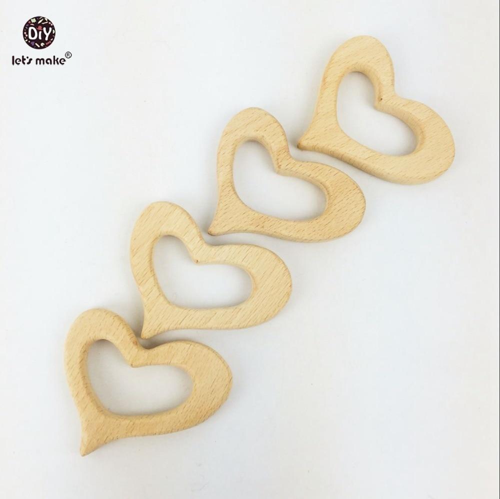Let's Make Baby Teether Rattle Wooden Teething 10PC Beech Wooden Heart Wood Necklace Nursing Bracelet Pendant Wooden Teether