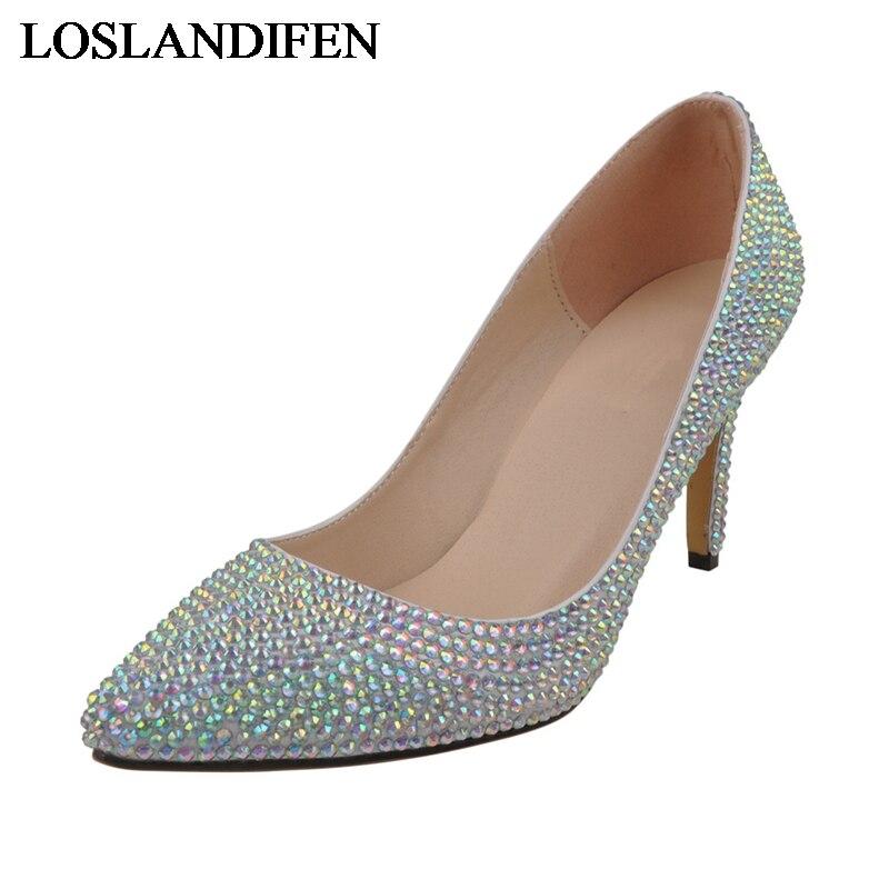 Argent bout pointu chaussures de mariage strass luxueux dame talons hauts fête de mariage pompes de bal mariée demoiselle d'honneur chaussures NLK-A0145