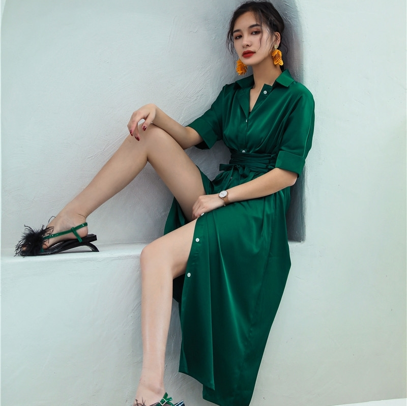 LANMREM 2018 Summer New Turn-down Collar Short Sleeve Sashes Empire Waist Mid-calf Ladies Fashion Loose Chifforn Dress BA576