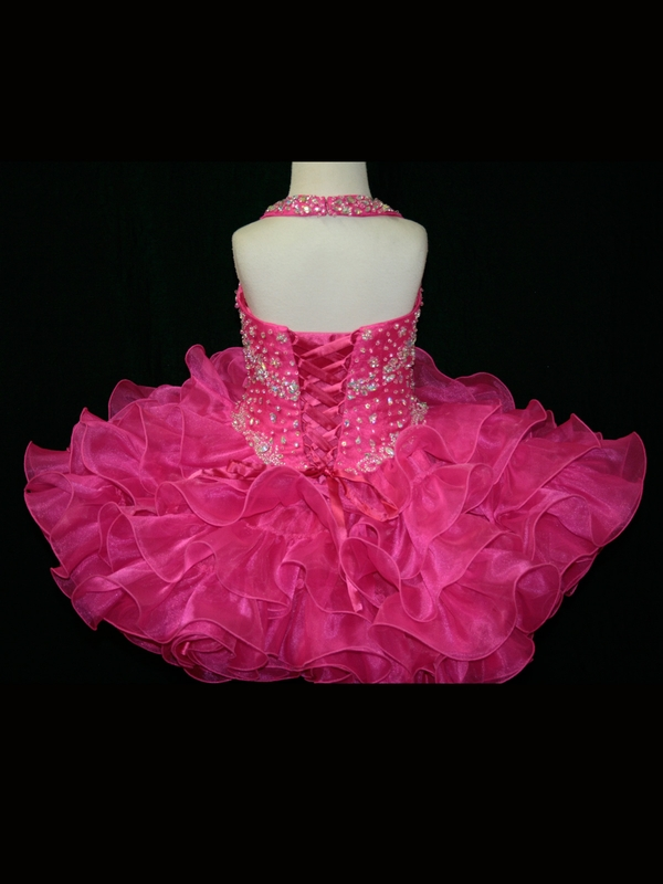 Glittering Short Mini Crystals Organza Ruffle Skirt Glitz Pageant Dresses  for Little Girls Toddler Yellow Cupcake Party Dresses-in Flower Girl Dresses  from ... 356233c0c185